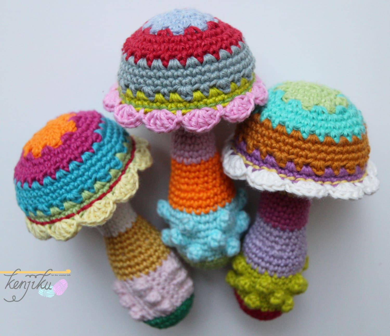 Diy Free Crochet Pattern For Baby Rattles : Mushroom Baby RattleCrochet PatternDIYBaby Rattle DIYBaby