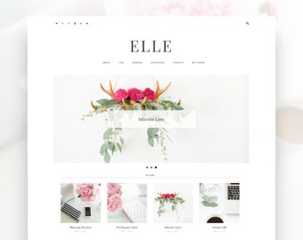 Elle- Minimalist WordPress Theme  — RESPONSIVE Wordpress Website Theme — Self-hosted Wordpress Blog Theme — Feminine Website