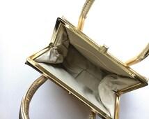 Vintage Metalic Gold Handbag - Glam Gold Bag - Evening Bag - Bridal -  Bridal Party Accessories - Prom