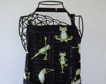 Funny Apron, Adult, Yoga Frogs