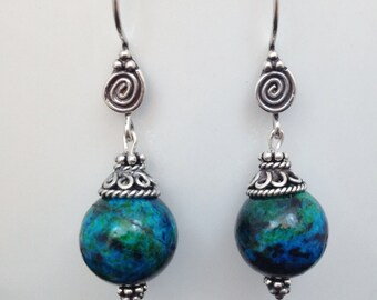 925 Bali Sterling Silver and Natural Chrysocolla Earrings