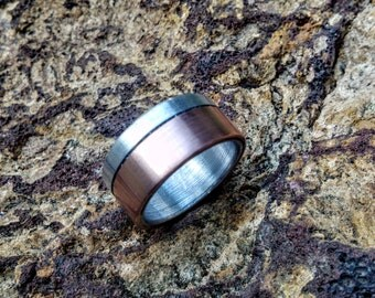 Copper Ring on Aluminum, Sterling Core.  10mm Wide.