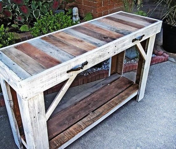reclaimed wood entry table by lostdogwoodworks on etsy. Black Bedroom Furniture Sets. Home Design Ideas