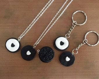 Oreo cookie friendship pendants/keyrings