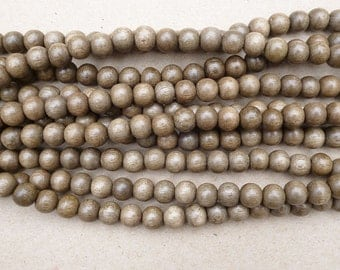 Natural Greywood Round Beads Various Sizes 16'' Strand