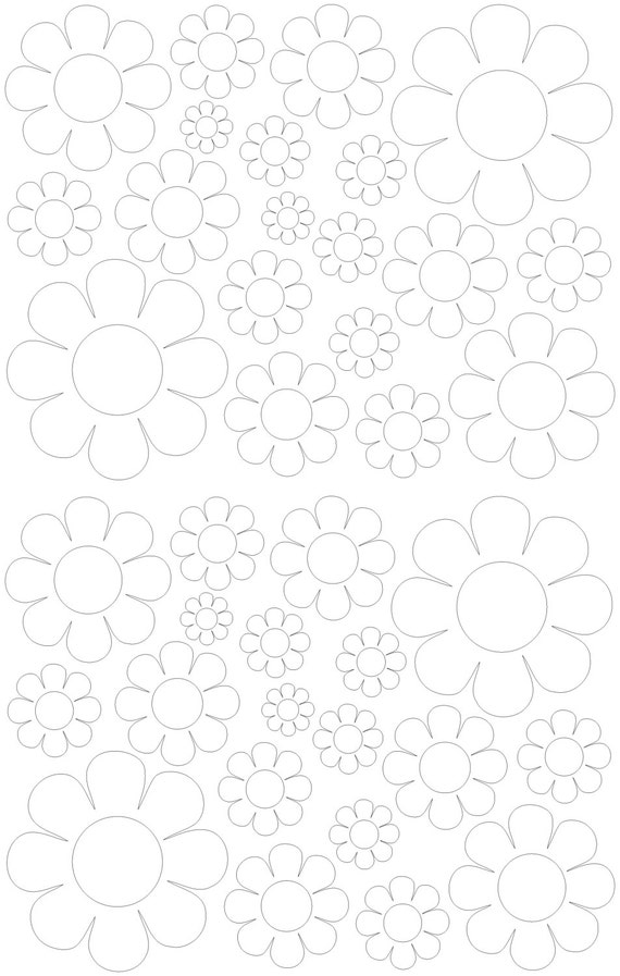 38 White Daisy Vinyl Shaped Bedroom Wall Decals Stickers Daisies Teen Kids Baby Nursery Dorm Room Removable Custom Made Easy to Install