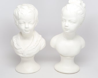 """1950's Brother and Sister Busts Copied After the Sculptures of Jean-Antoine Houdin, 9-1/2"""" H, 4-1/2"""" W, base 3"""" X 3-5/8"""", Good Condition."""