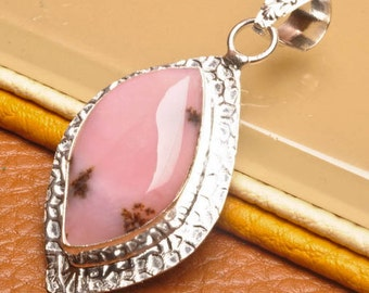 Natural Pink Opal silver plated pendant  ( #J1574)