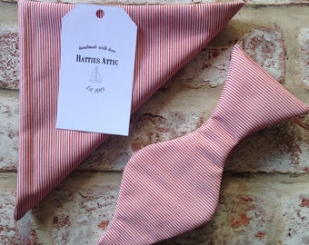 Handmade red and white stripey bow tie and pocket square
