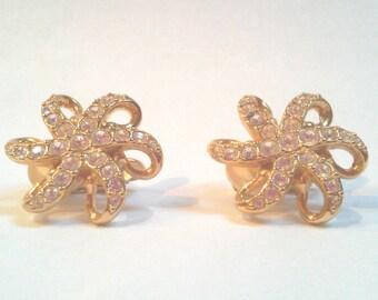 Swarovski Crystal Elegant Gold Flower Swirl Earrings