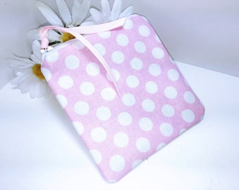 Pink Change Purse, Pink Polka Dot Coin Purse, Pale Pink Cute Zipper Coin Pouch