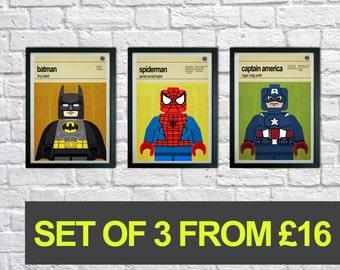 Lego Superhero prints, Set of 3 prints, Mid Century Modern, Typography Print, Childrens Bedroom Art, Nursery Pictures, Kids art, Wall art