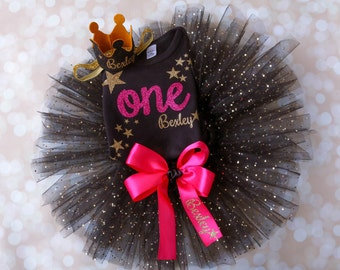 First Birthday Outfit Girl -1st Birthday - First Birthday Tutu - Personalized Set - Smash Cake Outfit - Twinkle Little Star - Black and Gold