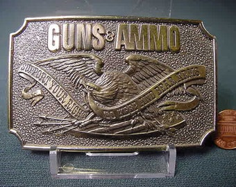 Vintage Old Collectible * Belt Buckle * Guns & Ammo * Chicago