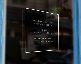 Store Hours Window Decals - Custom Store Front