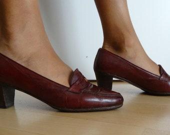 Chaussures mocassins CELINE cuir bordeaux pointure 37 - uk 4 - us 5,5