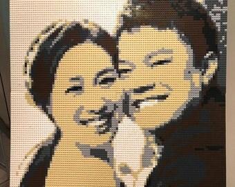 80cm*80cm Wedding Custom-made DIY lego-like brick mosaic