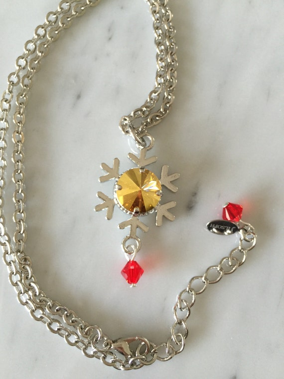 Gold Crystal Snowflake Pendant Necklace, Silver