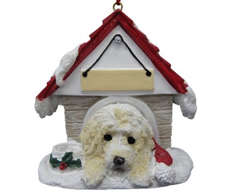 """Labradoodle cream Christmas Ornament with Magnetic back, personalized with your Dog's Name.Hand Painted with a brush.Measures 3"""" by 3"""""""