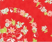 1 Yard Handmade by Bonnie and Camille for Moda- 55140-11 Red Floral June