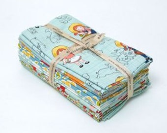 1 Yard Bundle Farm Girl by October Afternoon for Riley Blake Designs 5020- 7 Fabrics Teal