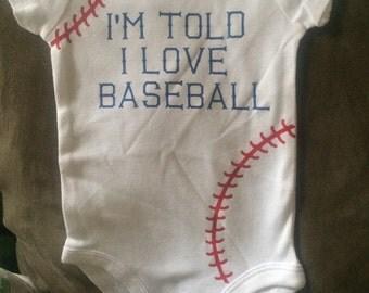 Im told I love baseball bodysuit