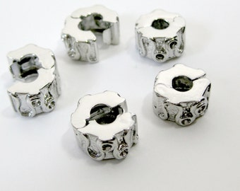 Clip Lock Beads for European Style Bracelets or Necklaces / 5 Stopper Big Hole Beads  / DIY Jewelry / DESTASH  / Silvertone Stopper Beads