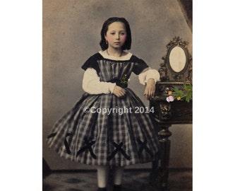 Printable Girl Victorian Hoop Dress  Digital Collage Ephemera Altered Art Instant Download Vintage  Image Scrapbooking Cards Digital Photo