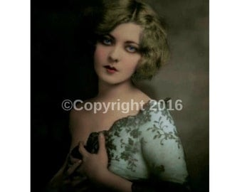 Woman Vintage Instant Download Digital Collage Ephemera  Postcard Edwardian Altered Art Photograph Victorian Scrapbook