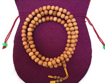 Handcrafted Sandalwood 108 Bead Mala with Gift Bag