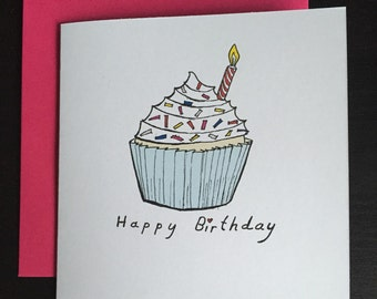 Birthday card, happy birthday card, cupcake