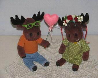 "Plush teddy moose ""Nazar and Marichka"", handmade toys, plush toys"