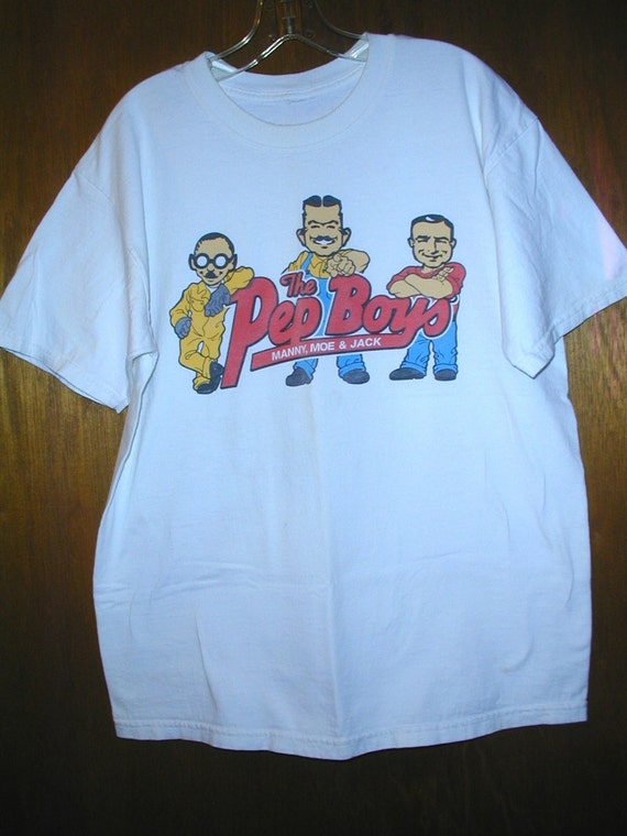 Items similar to vintage pep boys manny moe and jack t for Selling shirts on etsy