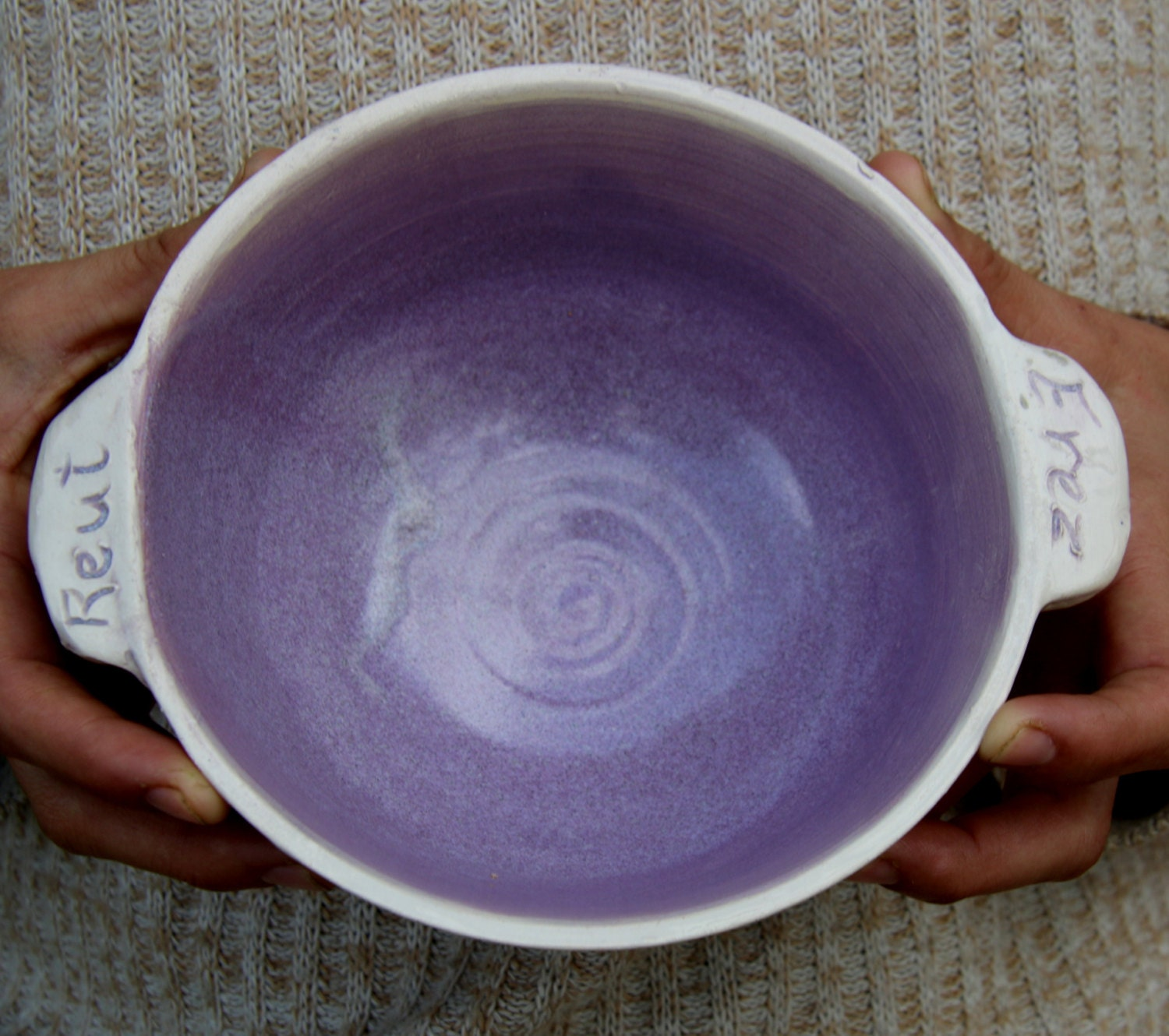 Personalized Bowl Soup Bowl With Handles Purple Names On