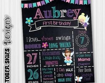 Fairy Birthday Chalkboard / Printable / Custom / 1st year / Printable Chalkboard / Digital / Any age
