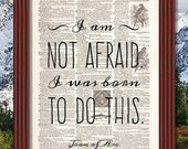 BUY 2 GET 1 FREE I Am Not Afraid Dictionary Art Print Page Joan of Arc Inspirational Motivational Quote Dorm Decor Jeanne d'Arc Book