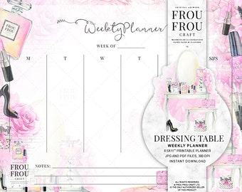 Beauty Planner Printable Weekly Planner Blogger Organizer Cosmetic Scheduler Makeup Organizer Instant Download To Do List Watercolor Vanity