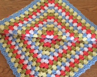 Crochet baby boy granny square blanket