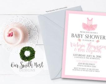 Ballet Baby Shower Invitation DIY PRINTABLE Customizable Digital Prints