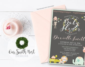 Animal Baby Shower Invitation DIY PRINTABLE Customizable Digital Prints