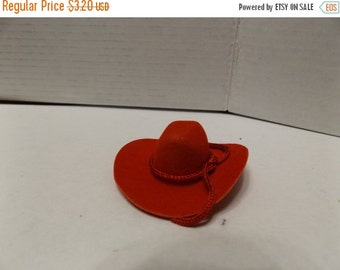 "Sale Dollhouse Miniature Flocked 2"" Red Western Cowboy Hat"