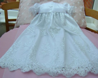 """A Lovely White Lace Christening Gown - """"Nicki"""""""