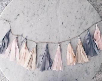 9 Inch Fabric Tassel Garland / Handmade Party Decor / Custom / Indian Raw Cotton Cream Grey Blush Peach Pastels / Birthday Baby-Shower /