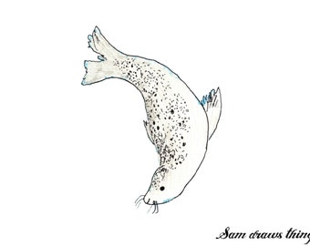 Mungo the Selkie Seal giclee print