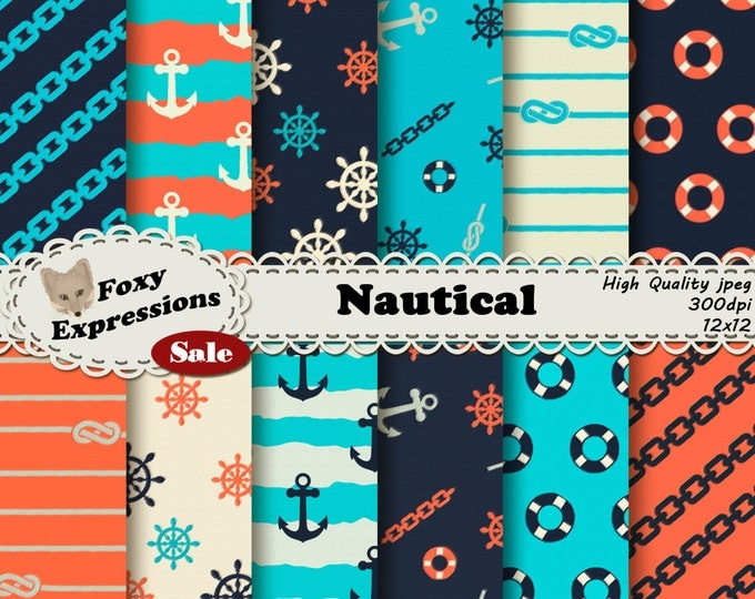 Rough Seas Nautical Digital paper pack comes in fun anchors, wheels, knots, chains, and life saver patterns. In shades of blue, red & cream.