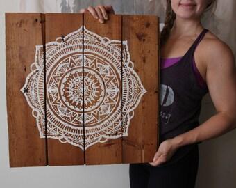 mandala, original reclaimed wood art