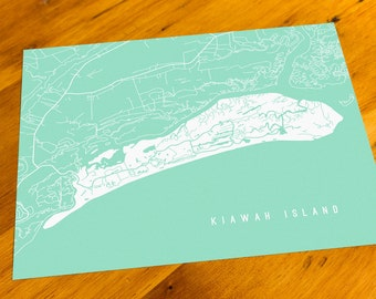 Kiawah Island, SC - Map Art Print  - Your Choice of Size & Color!