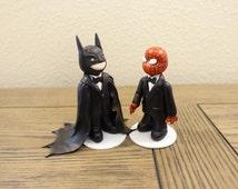 Gay Couple Wedding Cake Topper Spiderman & Batman, Wedding Cake Topper, Cute Cake Topper, Custom Cake Topper, Same Sex Cake Topper