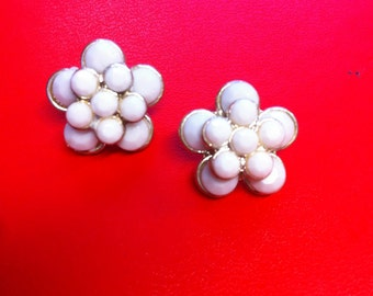 white cluster pierced earrings from  vintage antique retro