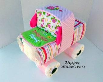 Girl Diaper Cake - Girl Diaper Cake - Baby Shower Centerpiece - Baby Gift for Girls - Baby Shower Gift -Baby Shower Decor - Truck